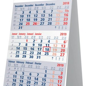 Kleine bureaukalender 3 maanden blauw 2019