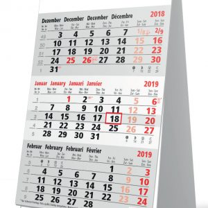 Bureaukalender 3 maanden grijs 2019