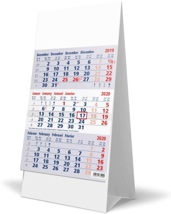 Bureaukalender 3-maand 2020 blauw