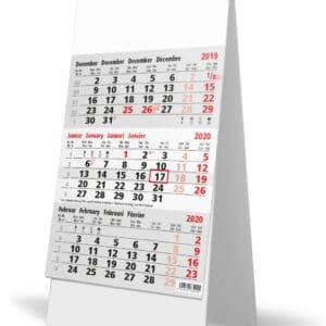 Bureaukalender 3-maand 2020 grijs