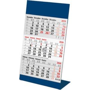 Kantoorkalender 3 maand metaal blauw 2020