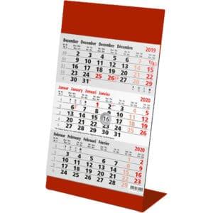 Kantoorkalender 3 maand metaal rood 2020