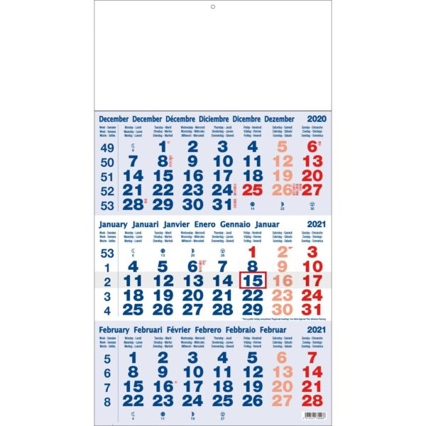 3-maandkalender Classic blauw