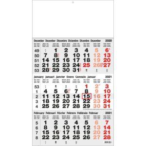 3-maandkalender Classic grijs 2021