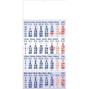 4-maandkalender classic blauw 2021