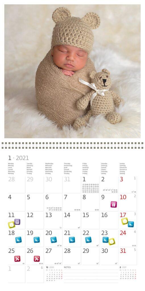 Muurkalender 30x30 Babies 2021 Januari
