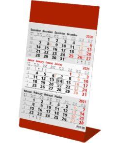 Kantoorkalender 3-maand Color rood 2021