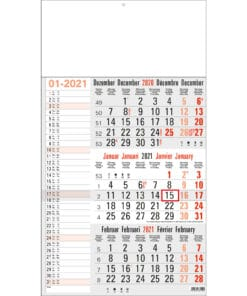 3-maandkalender memo grijs 2021