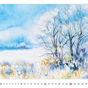 Muurkalender Watercolour Scenery 2022 Januari