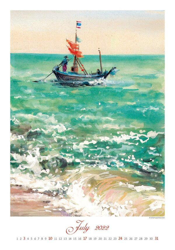 Kunstkalender Aquarelle 2022 Juli