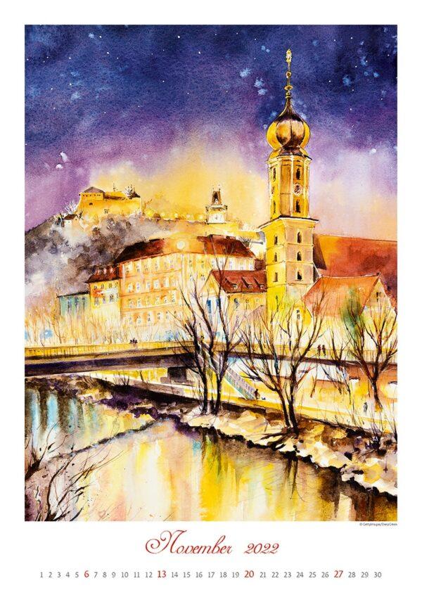 Kunstkalender Aquarelle 2022 November