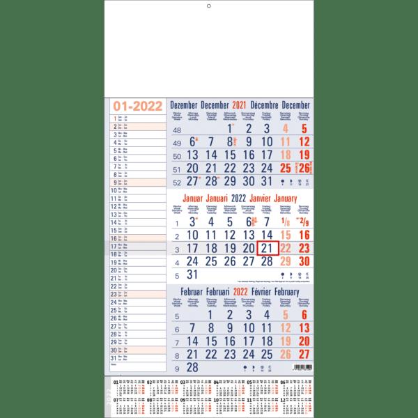 3-maandkalender 2022 Memo blauw met jaaroverzicht
