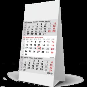 Kantoorkalender 3 maand grijs 2022